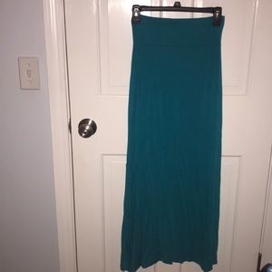 Teal maxi skirt, slit on both sides